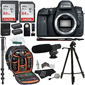 Canon EOS 6D Mark II Digital SLR Camera Body, Sandisk Ultra 64GB 2 Pack, Ritz Gear Camera Backpack, Tripod, Replacement Battery, Cleaning Kit, Monopod with Quick Release, and Accessory Bundle