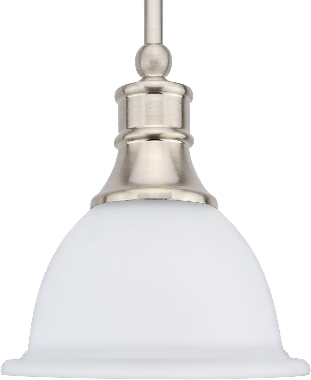 Kira Home Ellie 8 Adjustable Mini Pendant Light w Frosted Glass Shade Brushed Nickel Finish