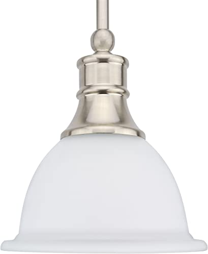 Kira Home Ellie 8 Adjustable Mini Pendant Light w Frosted Glass Shade Brushed Nickel Finish