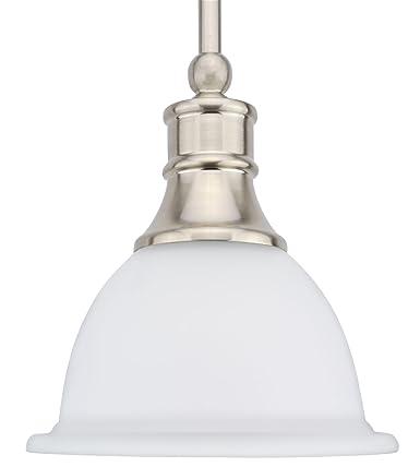 Revel Ellie 8 Adjustable Mini Pendant Light w Frosted Glass Shade Brushed Nickel Finish
