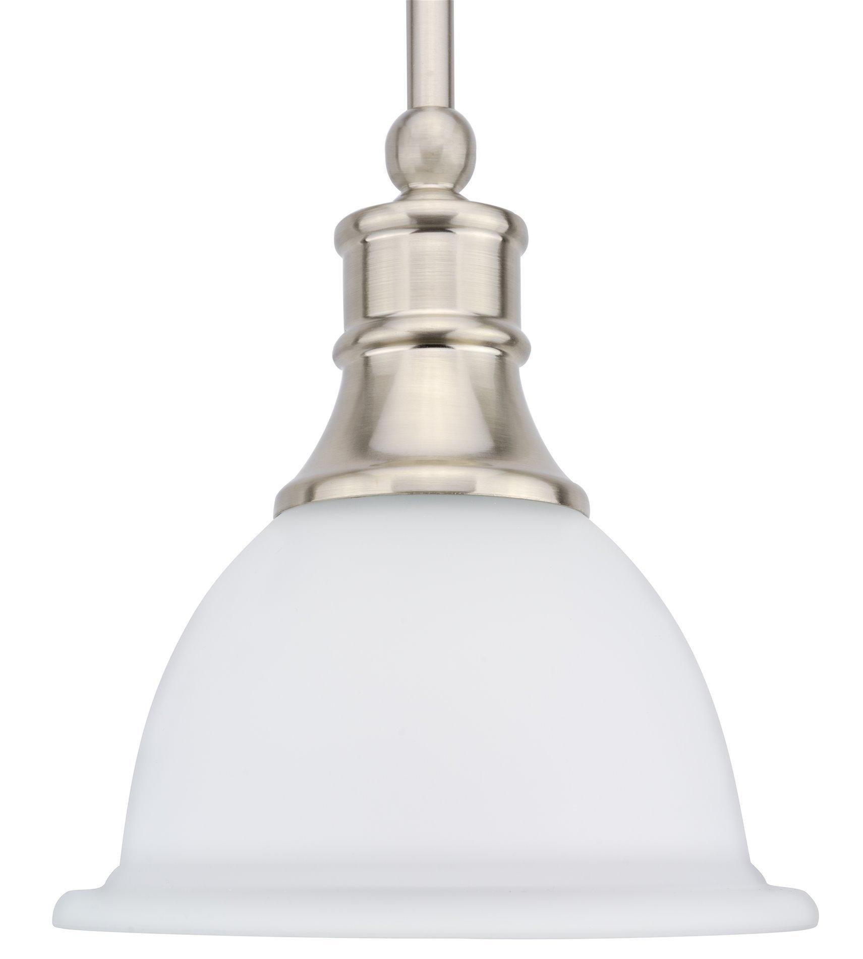 Revel Ellie 8'' Adjustable Mini Pendant Light w/Frosted Glass Shade & Brushed Nickel Finish