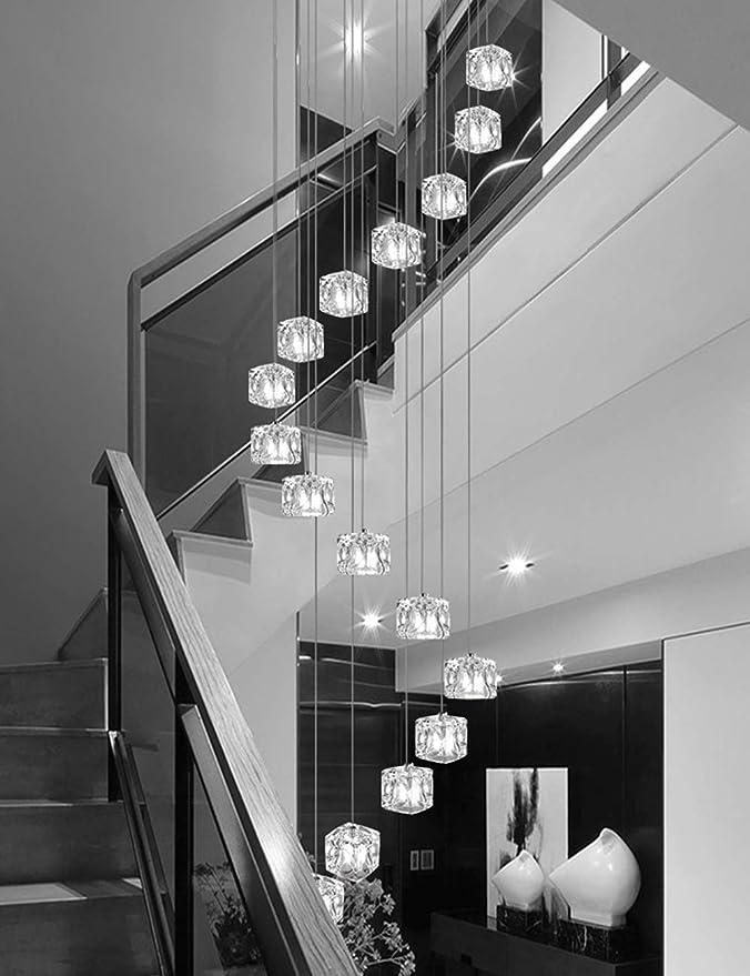 Múltiples luces Escalera de caracol Araña Bolas de vidrio Bar Restaurante Personalidad creativa Porche Luces de pasillo Moderno Colgante moderno Luz Araña larga: Amazon.es: Hogar