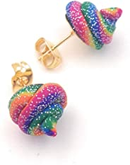 Unicorn Poop Stud Earrings Rainbow Glitter Sparkle