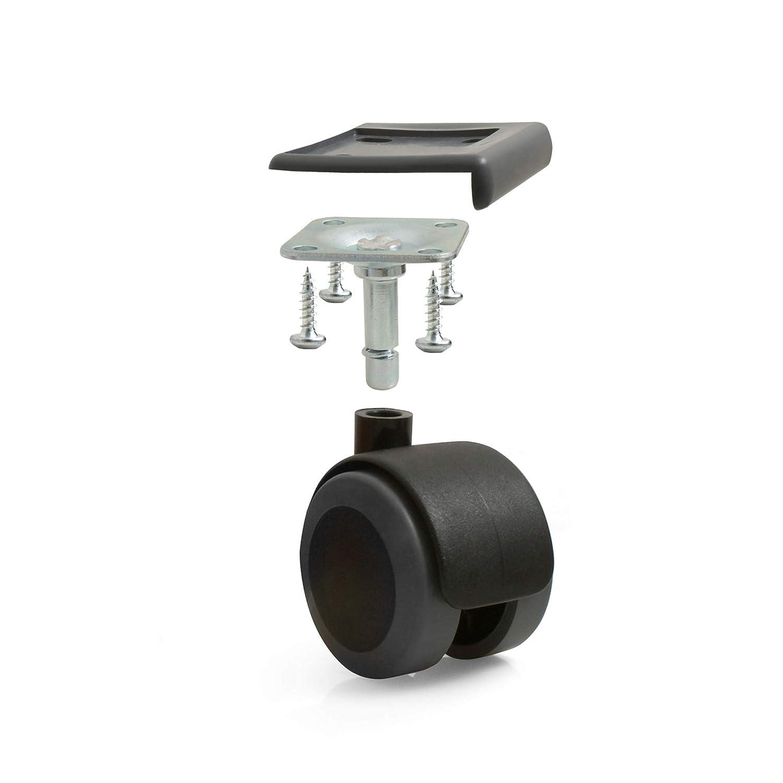 Design61 Universal M/öbelrollen Gummirollen Lenkrollen Laufrollen Bodenschutz Rollen mit Feststeller mit Anschraubplatte und Kantenschutz in Schwarz