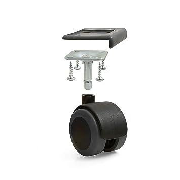 Design61 Universal Ruedas Goma para Mueble (Ruedecillas Ruedas Ruedas con Tope para Suelo con Tubo y Protector de Bordes en Negro: Amazon.es: Electrónica