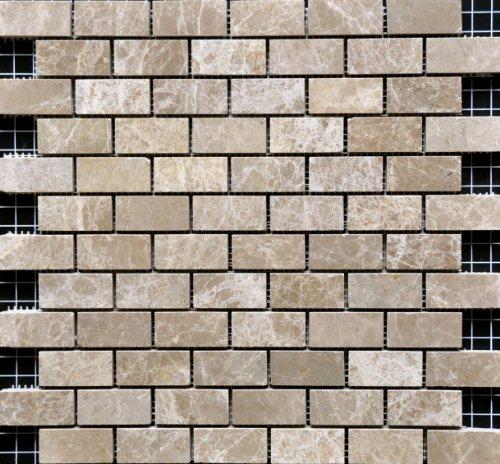 1x2 Emperador Light Brown Polished Marble Mosaic Tile