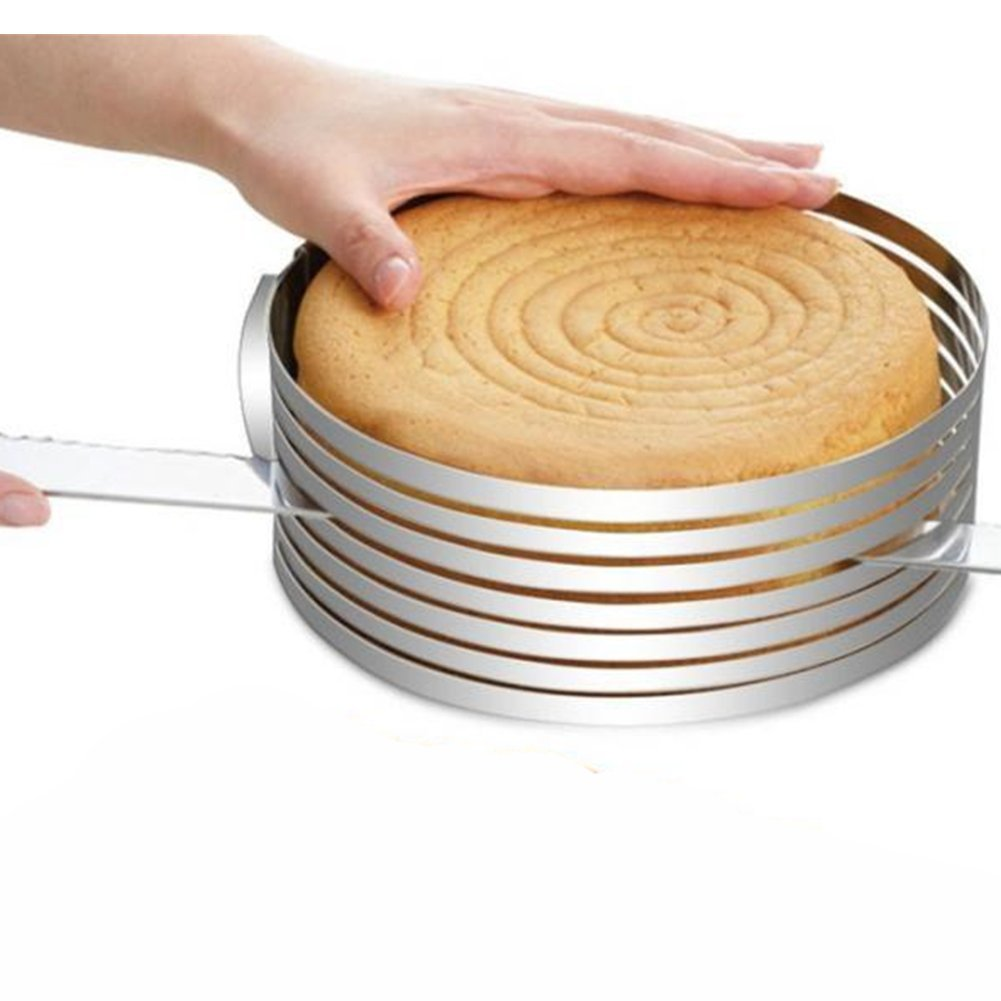 Homeself Adjustable 9''-12'' Stainless Steel Cake Ring Cutter, Layer Cake Slicer Kit Mousse Slicing Cake (12Inch)
