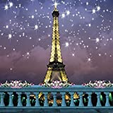 The Eiffel Tower Under the Stars 10' x 10' Digital Printed Photography Backdrop KA Series Background KA051