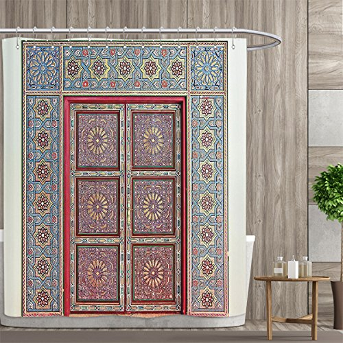 Moroccan Decor Collection Shower curtains sets bathroom A Magnificent Moroccan Traditional Ancient Door Gate Brass Historic Handicraft Image Satin Fabric sets bathroom 72