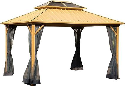 WSN Canopy Top Gazebo, 2-Tier Techo de Acero Techo rígido de ...