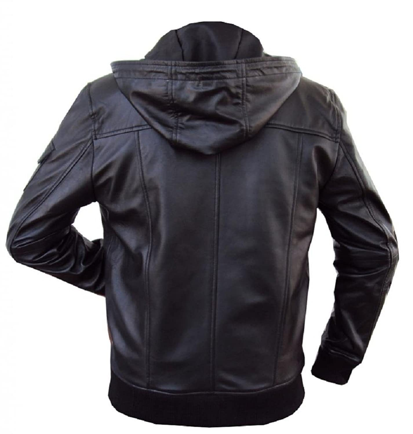 Leather jacket and hoodie - The Leather Factory Men S Lambskin Leather Fixed Hoodie Jacket With Knitted Ribs At Amazon Men S Clothing Store