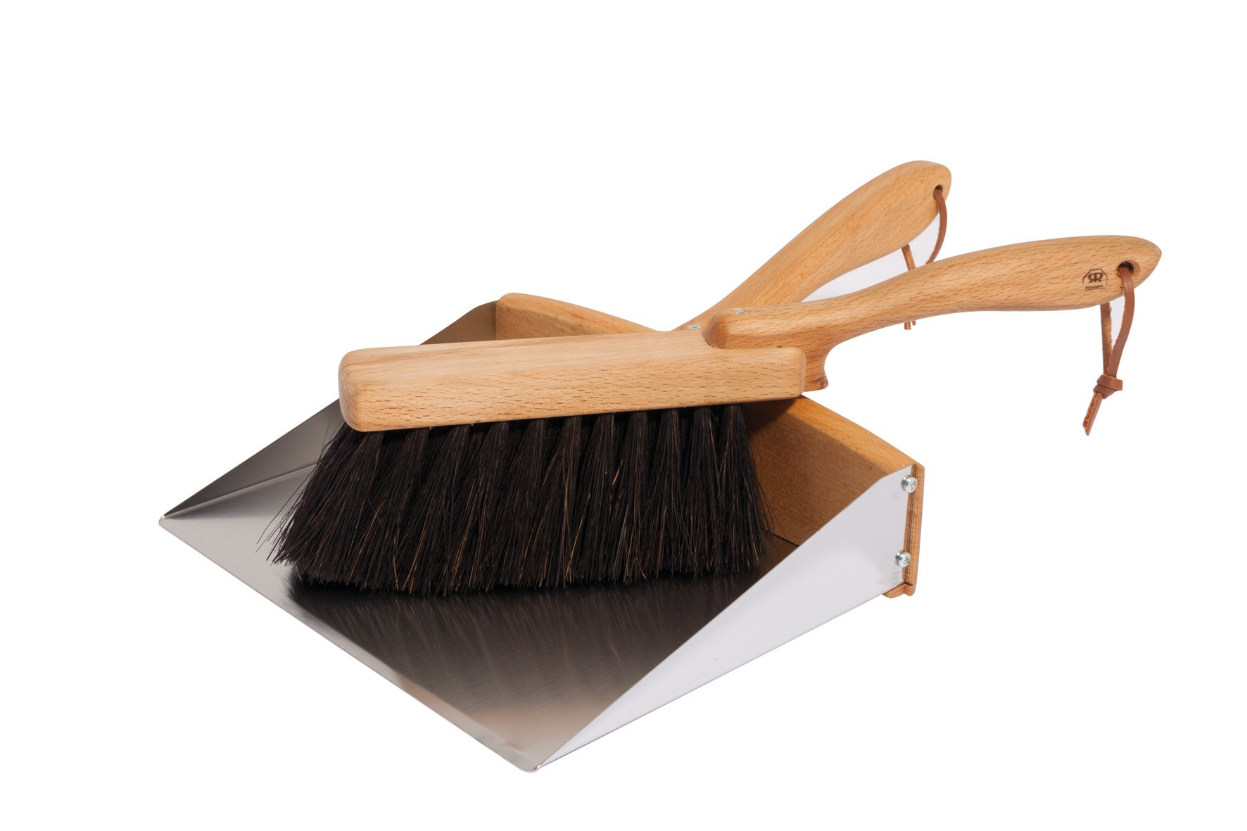Redecker Arenga Fiber Hand Brush and Dust Pan Set with Oiled Beechwood Handles, 14-1/8-Inches