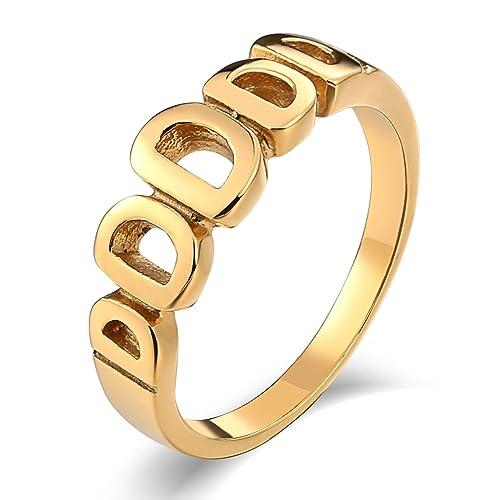 AmDxD Joyería Acero Inoxidable Anillo de Promesa para Hombre Hueco Carta D. Alto Pulido Oro