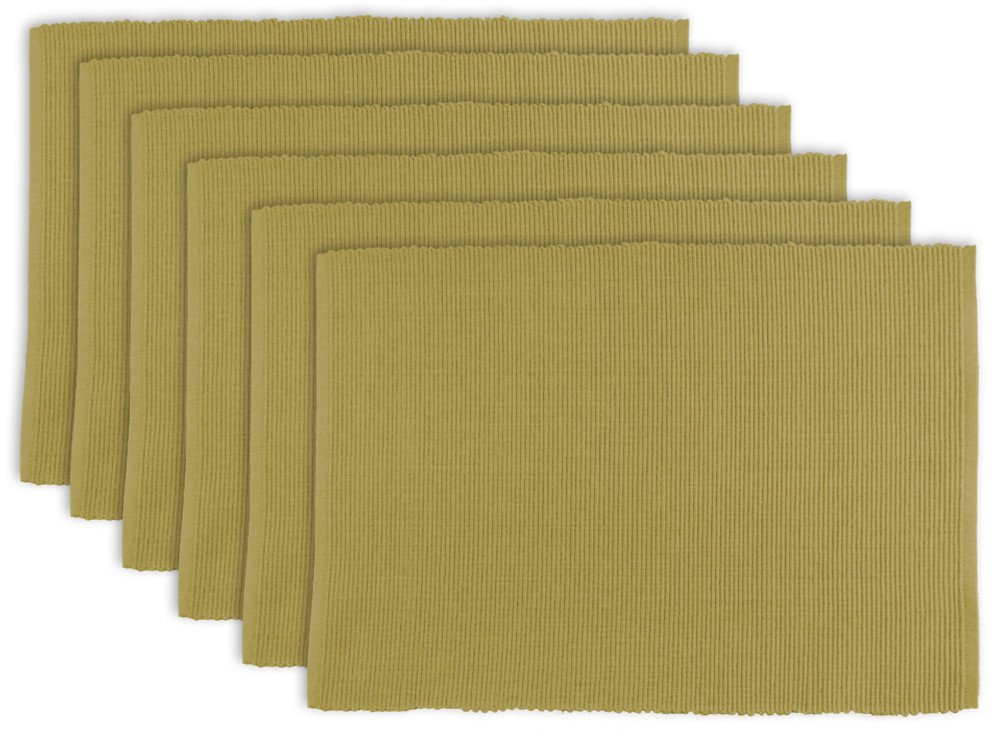 DII 100% Cotton, Ribbed 13x 19'' Everyday Basic Placemat Set of 6, Taupe