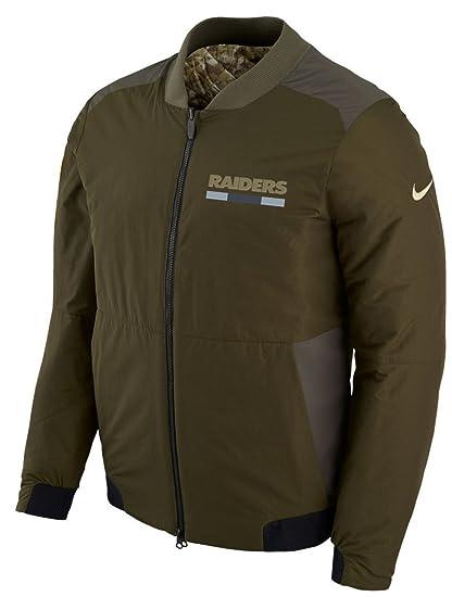 Oakland Raiders NFL Salute to Service Men s Reversible Bomber Jacket  (Medium) 70d95585d