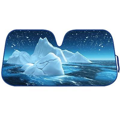 BDK AS-761 Iceberg Blue Glacier Front Windshield Shade-Accordion Folding Auto Sunshade for Car Truck SUV-Blocks UV Rays Sun Visor Protector-Keeps Your Vehicle Cool-58 x 28 Inch: Automotive