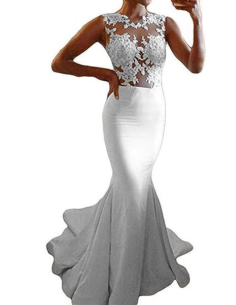 Udresses Womens Illusion Lace Sheer Mermaid Wedding Dress For Bride Ux025