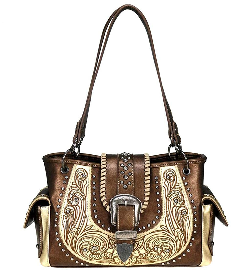 Bronze Montana West Concealed Carry Embroidered Western Tote w Side Pockets
