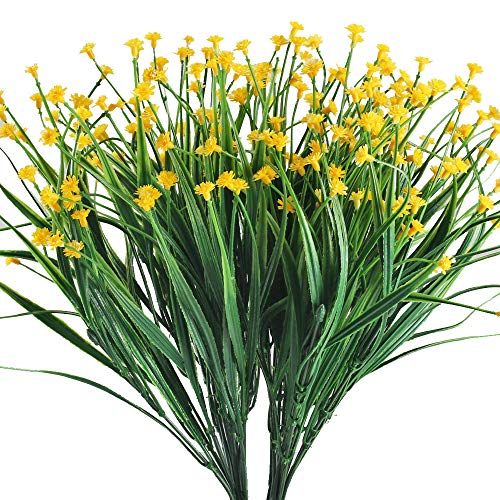 XYXCMOR Artificial Fake Flowers 4pcs Baby's Breath Flowers Bouquet Greenery Shrubs Plastic Flowers for Cemetery Farmhouse Indoor Outside Hanging Planter Decor Yellow