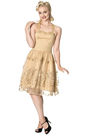 PDUK New Dancing Days Moonlight Escape Gold Prom Dress UK8-16 By Banned Apparel (