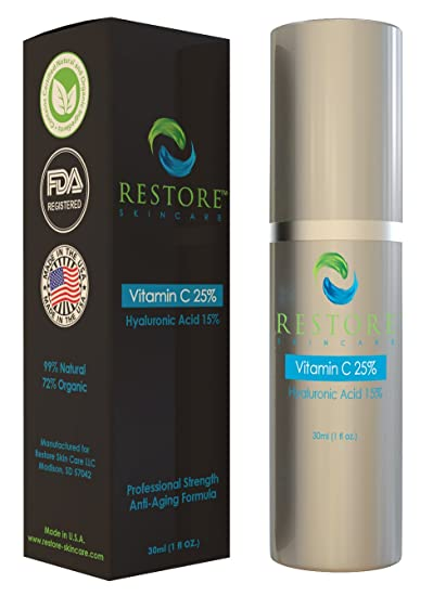 Amazon best vitamin c serum 25 with 15 hyaluronic acid by best vitamin c serum 25 with 15 hyaluronic acid by restore skin care llc solutioingenieria Choice Image