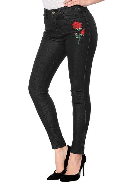Allegra K Pantalones Vaqueros para Mujer Apliques De Flores ...