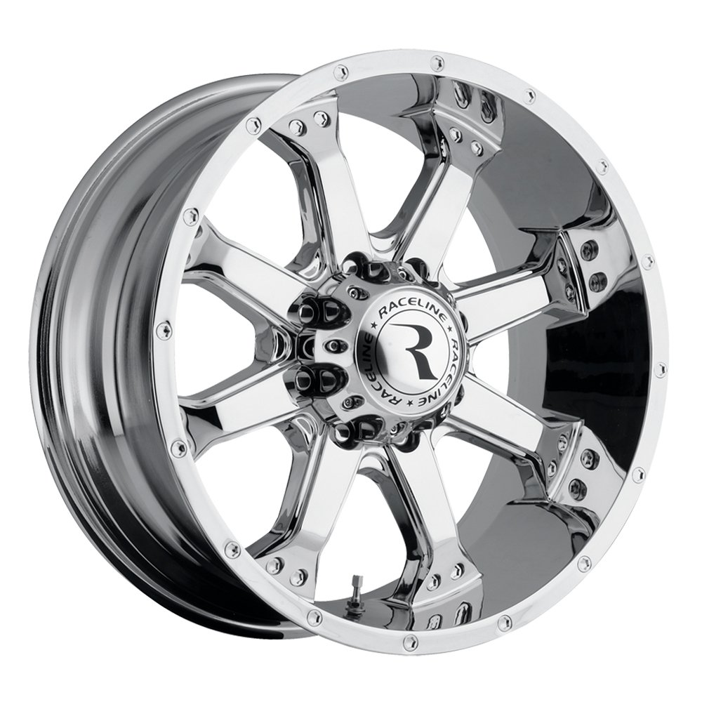 Raceline Assault 20 Chrome Wheel / Rim 8x6.5 with a -12mm Offset and a 125.2 Hub Bore. Partnumber 991C-29080-12