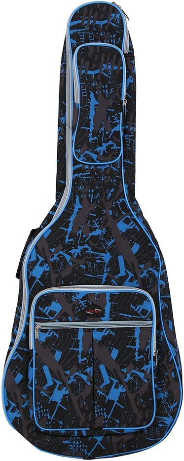 ammoon® 600D Resistente al Agua Oxford Tela Doble Cosido Correas Acolchadas Gig Bag Estuche Portátil para 41Inchs Guitarra Acústica folk Clásica Camuflaje Azul: Amazon.es: Instrumentos musicales