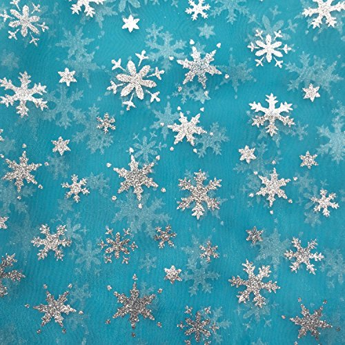 Frozen Inspired Light Blue Organza with Glitter Silver SnowFlakes - 5 Yards