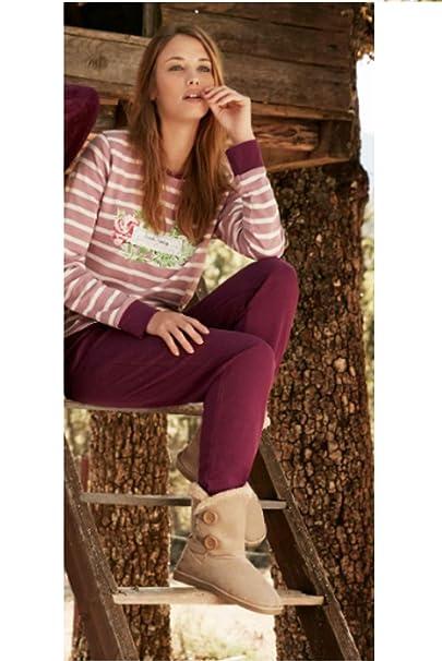 Pijama con Camiseta Estampada de Rayas. Pantalón Liso a Contraste y Cintura Ajustable con cordón