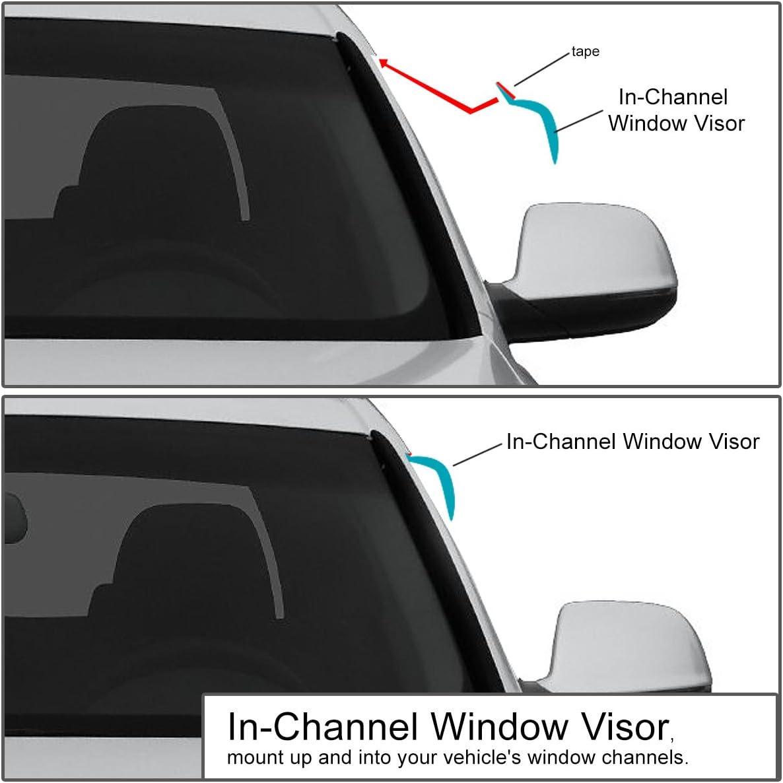 DNA Motoring WVS-109 2pcs Dark Smoke Vent Window Visor Deflector Rain//Sun Guard