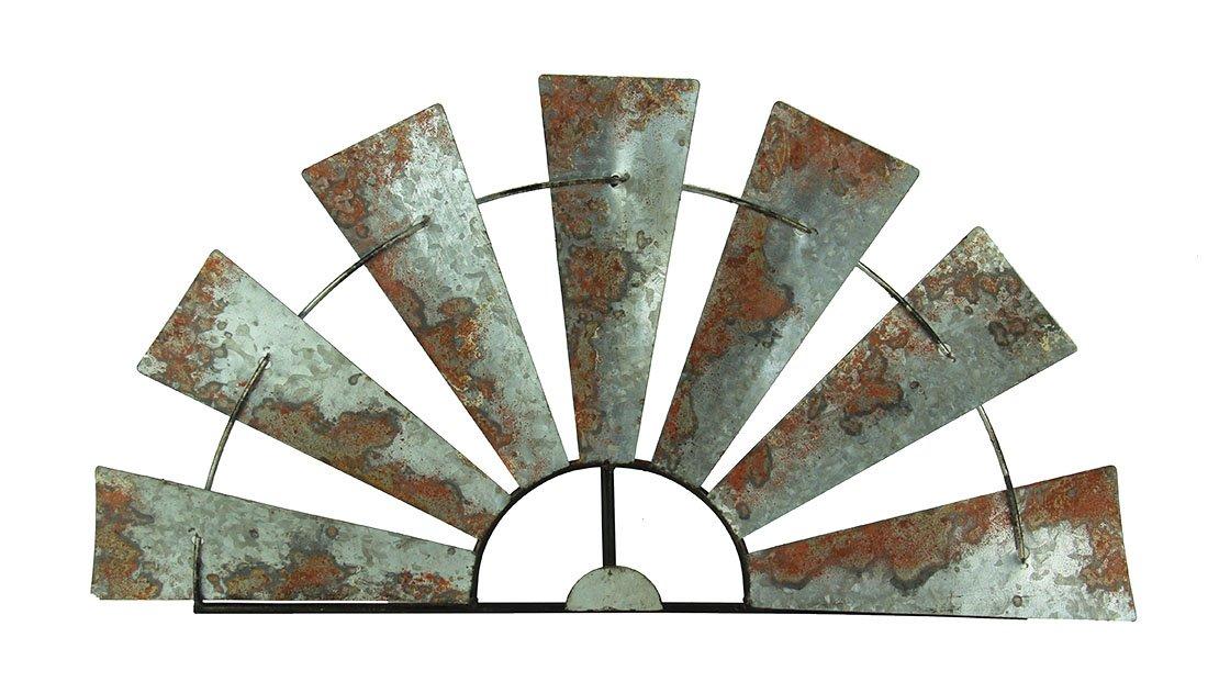 "Special T Imports Galvanized Metal Half-Windmill Wall Sculpture (30"")"