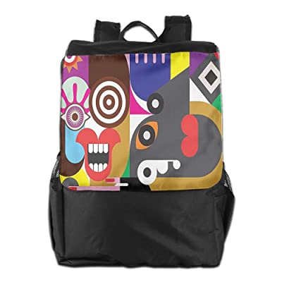 Newfood Ss Women Themed Art Deco Pattern With Geometric Cool Circled Outdoor Travel Backpack Bag For Men And Women
