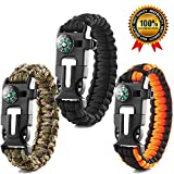 Rescue Survival Knife - Premium Survival Bracelet-Pack of 3-Outdoor Emergency Tool Kit 5 in 1 With Compass,Flint Fire Starter,Emergency Scraper/Knife,Whistle,Rescue Rope-Perfect for Camping,Hiking,Trekking,Travel