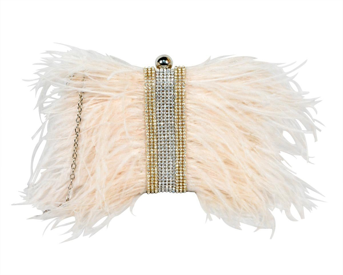 Zakia Real Natural Ostrich Feather Evening Clutch Shoulder Bag Party Bag (champagne-C)
