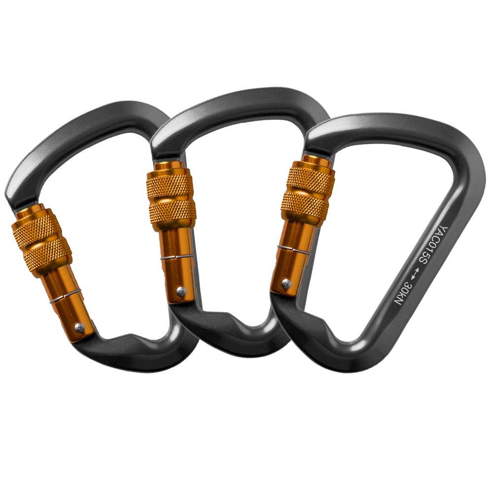 AYAMAYA 3 Pack 30kn/3000kg Aluminum Locking Rock Climbing Carabiner D Shape Screwgate Carabiner Hook Screw Lock Carabiner Outdoor Sport Tools Dad