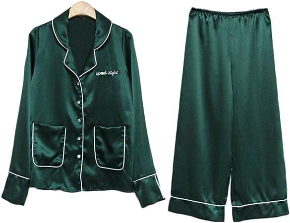 Women - pajamas Alus- Camisa Simple Japonesa Cuello de Manga Larga Pijama Traje Mujer Suelto Servicio en casa: Amazon.es: Hogar