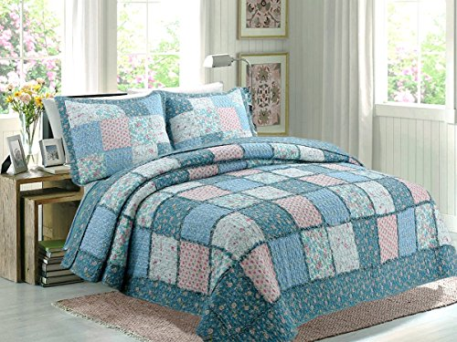 Cotton Patch Bedding - Cozy Line Home Fashions Aphrodite 100% COTTON Quilt Bedding Set, Blue Pink French Country Floral Real Patchwork, Reversible Coverlet, Bedspread Gifts for Women NEW Arrival (Queen - 3 piece)