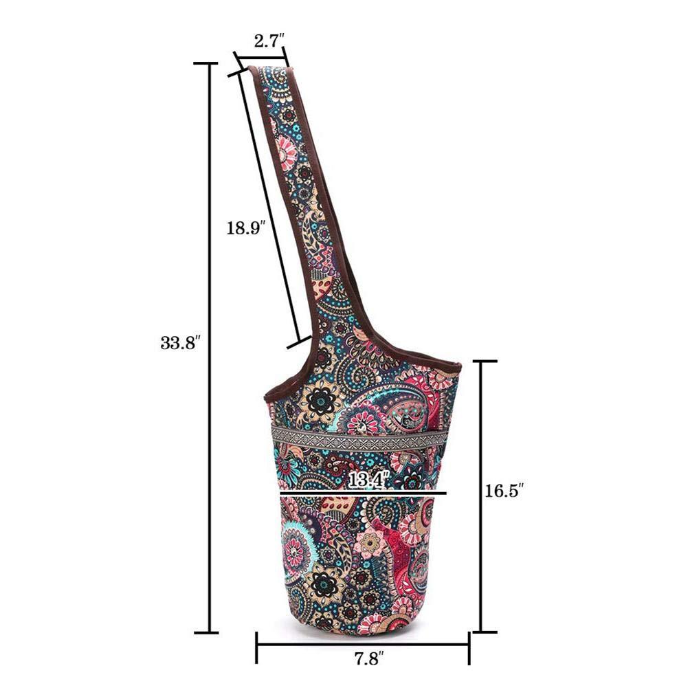 fervortop Tragbare Yoga Matten Tasche L/ässige Mode Canvas Yoga Tasche Yoga Mat Tote Tr/äger Mit Extra Gro/ßen Rei/ßverschluss Taschen Geeignet F/ür Die Meisten Mattengr/ö/ßen