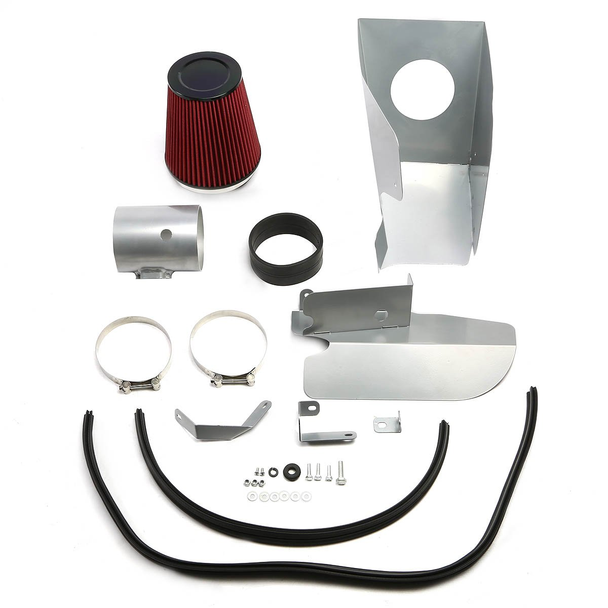For Ford Super Duty 6.4L V8 Wrinkle Finish Aluminum Cold Air Intake Pipe+Heat Shield 2nd Gen