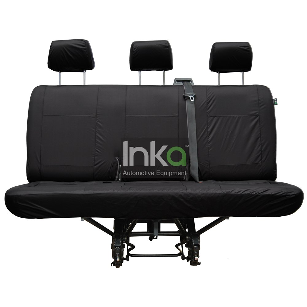 2006 Onwards Inka Sprinter Rear Row Seat Inka Fully Tailored Waterproof Seat Cover Black Rear Triple Bench; Right Hand Drive