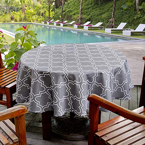 Round Outdoor Tablecloth - Aoohome Faric Tablecloth, Spill-Proof Water Repellent