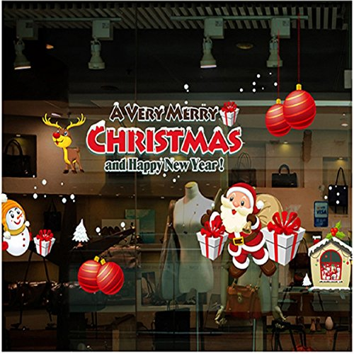 70 Cm Ceramic (Christmas Window Stickers Wall Sticker,Ikevan 50x70cm Christmas Shop Window Glass Decorative Santa Claus Gift Wall Stickers Gifts Red)
