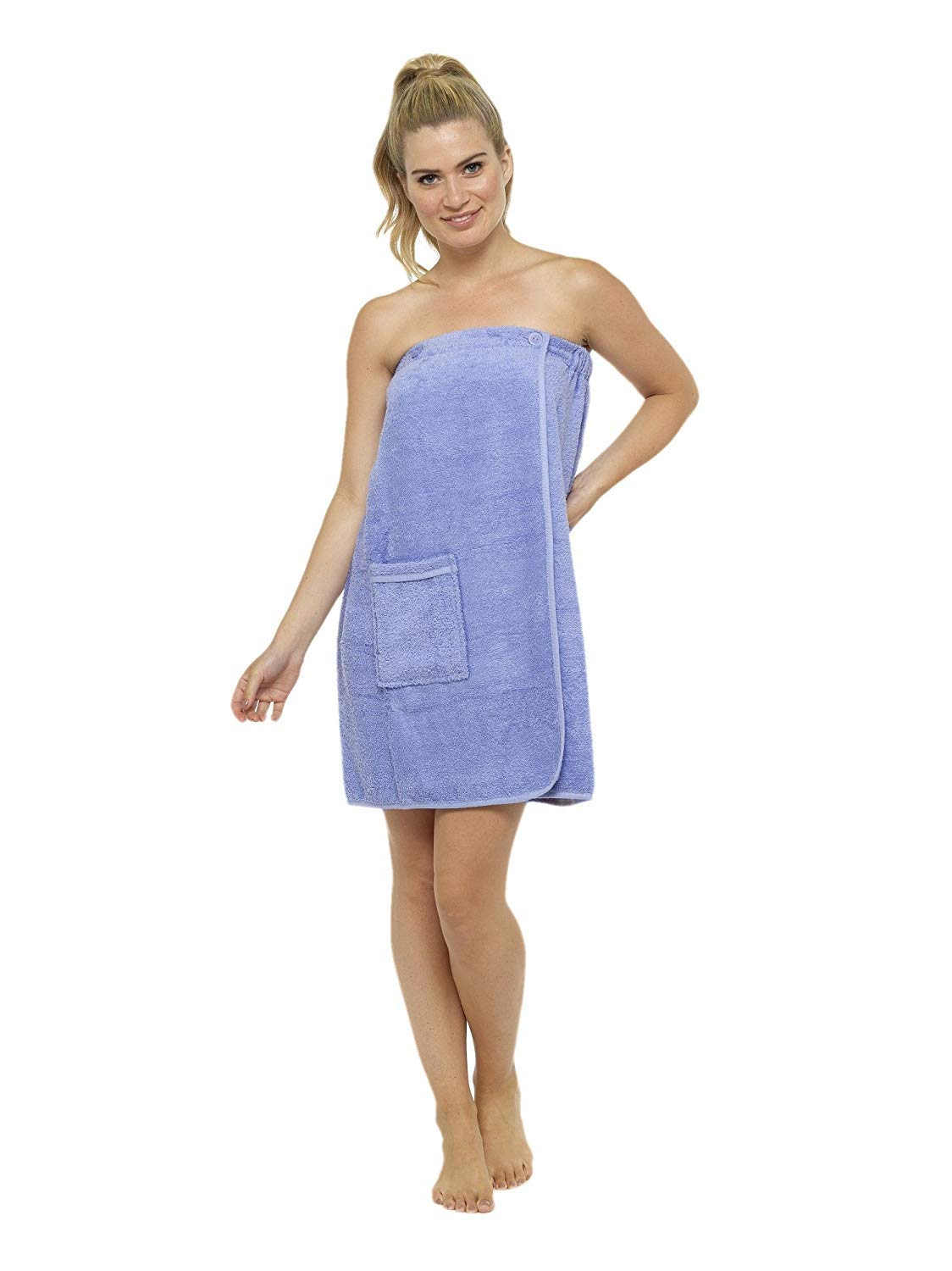 2ef0f02eaf Ladies Towel Wrap 100% Cotton Highly Absorbent Terry Soft Sarong Towel  Shower Spa Sauna Beach Gym Towelling Robe Cover-Up (LIlac, L/XL):  Amazon.co.uk: ...