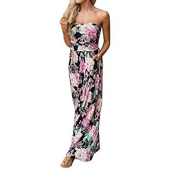 Damen Kleider,LMMVP Frauen Sommer Blumen Maxi Bandeau Urlaub Langes Kleid  (M, Multicolor 0234b36d13