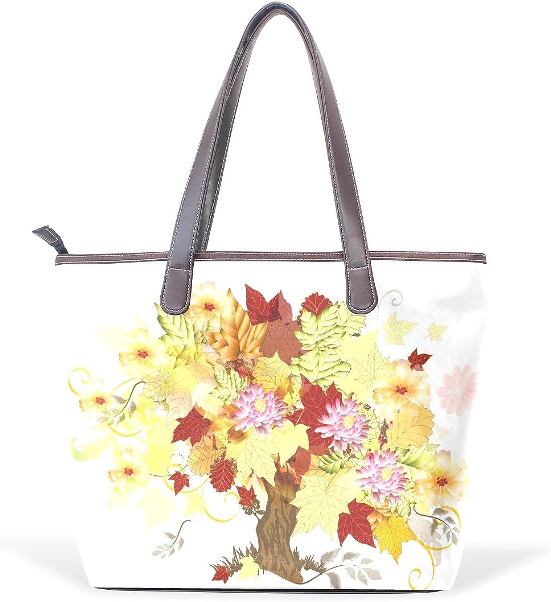 IMOBABY Women Leather Tote Top Handle Tote Shoulder Bags Handbags Art Tree Background for Girls Ladies