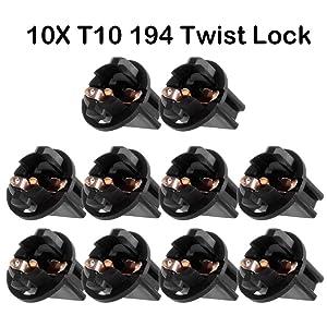 cciyu 10 Pack T10 168 Twist Lock Wedge instrument Panel Dash Light Bulb Base Sockets