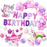 MMTX Suministros de Decoraciones de Fiesta de Unicornio, con 2pcs Enorme Globo de Unicornio, Feliz Cumpleaños Ballon…