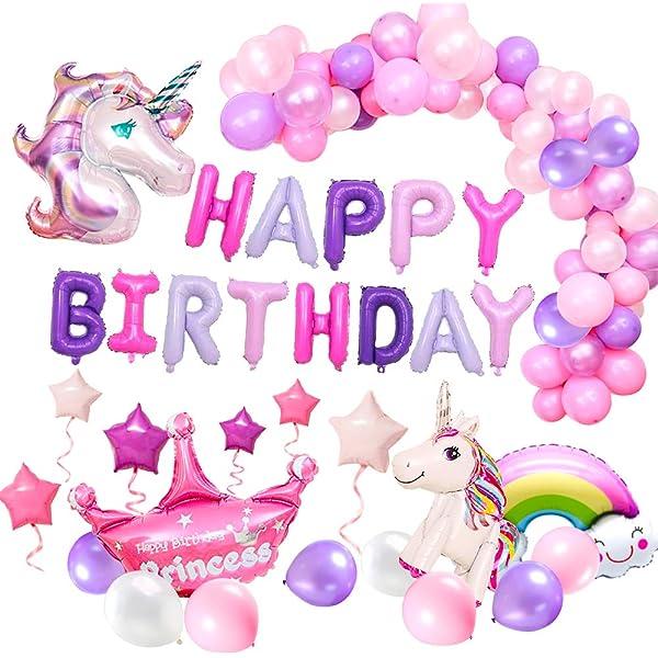 SPECOOL Unicornio Decoración de cumpleaños para niña, Rosa ...