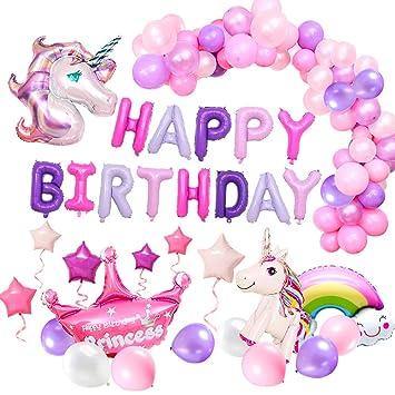 MMTX Suministros de Decoraciones de Fiesta de Unicornio, con 2pcs Enorme Globo de Unicornio, Feliz Cumpleaños Ballon Banner, para Niña Pequeña Fiesta ...